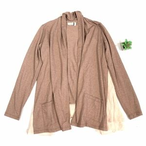 LOGO 2-Tones Draped Open Face Cardigan Sweater